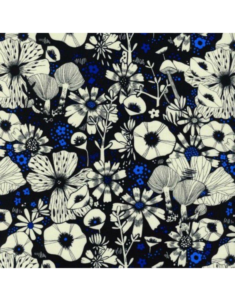 Sarah Watts Rayon, Cat Lady, Purrfect Hiding Spot in Black, Fabric Half-Yards