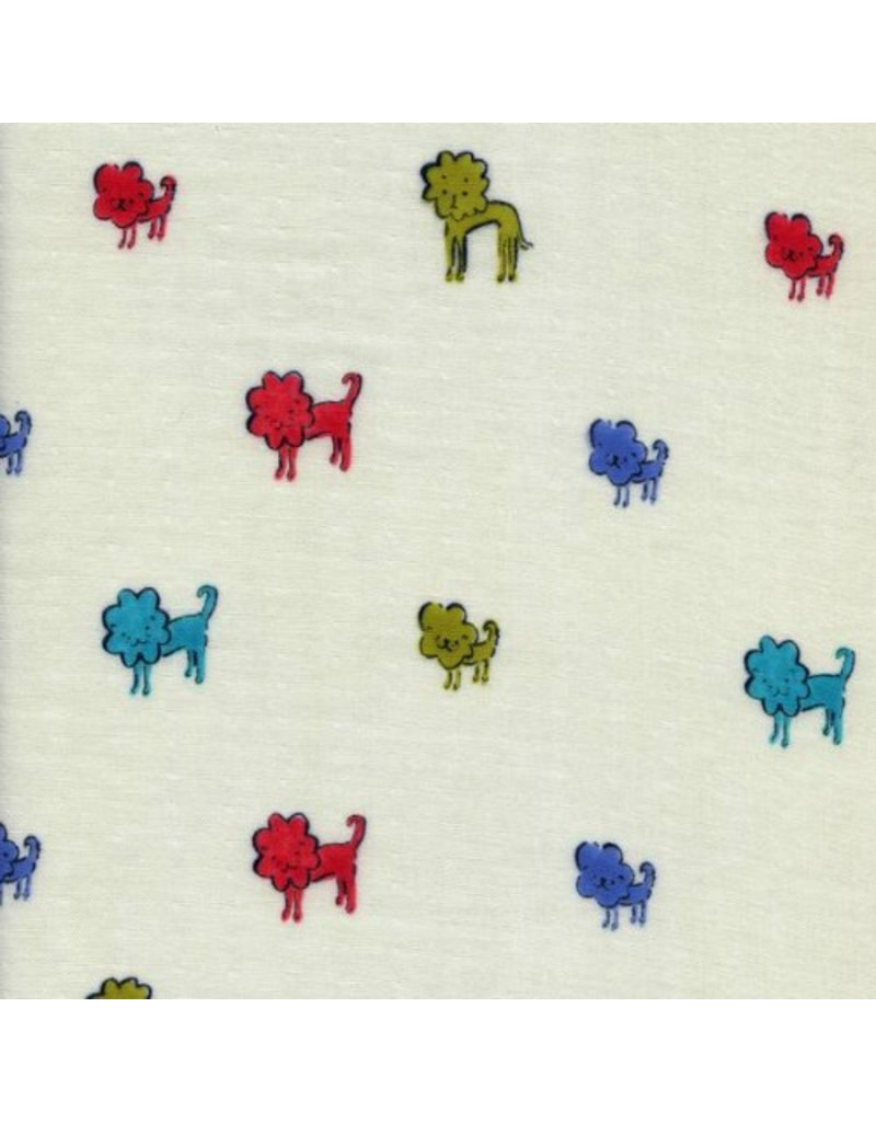 Cotton + Steel Double Gauze, Clover, Lions in Blue, Fabric Half-Yards