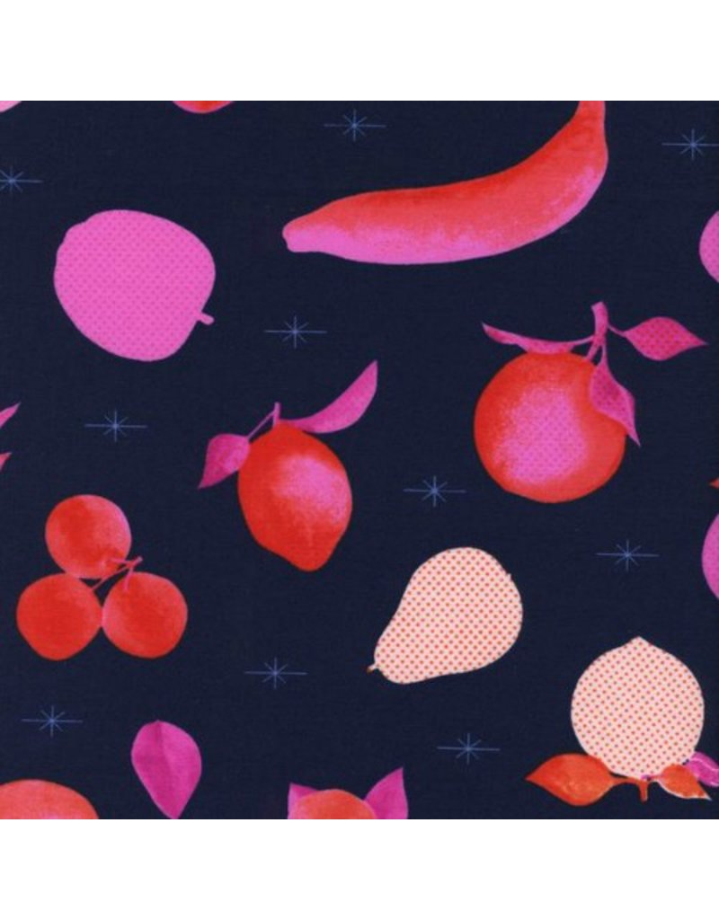 PD's Melody Miller Collection Fruit Dots, Fruit Stand in Navy, Dinner Napkin