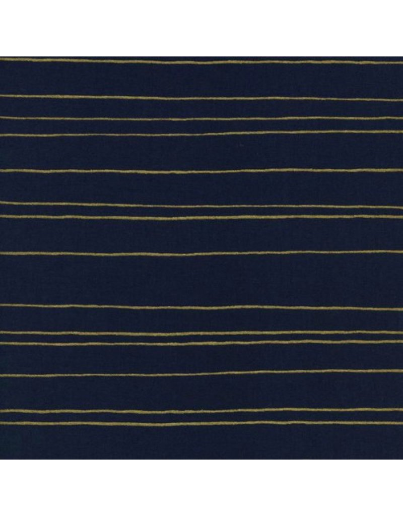 PD's Melody Miller Collection Fruit Dots, Gold Stripe in Navy, Dinner Napkin
