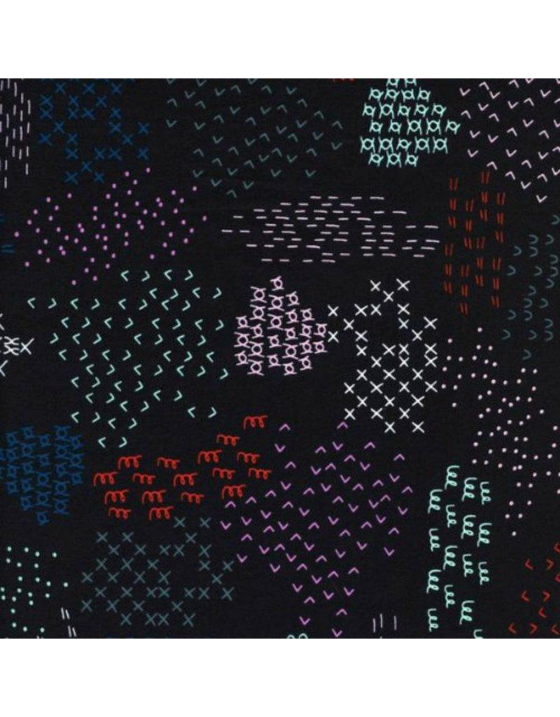 Rashida Coleman-Hale Cotton Lawn, Macrame, Pattern Guides in Midnight, Fabric Half-Yards