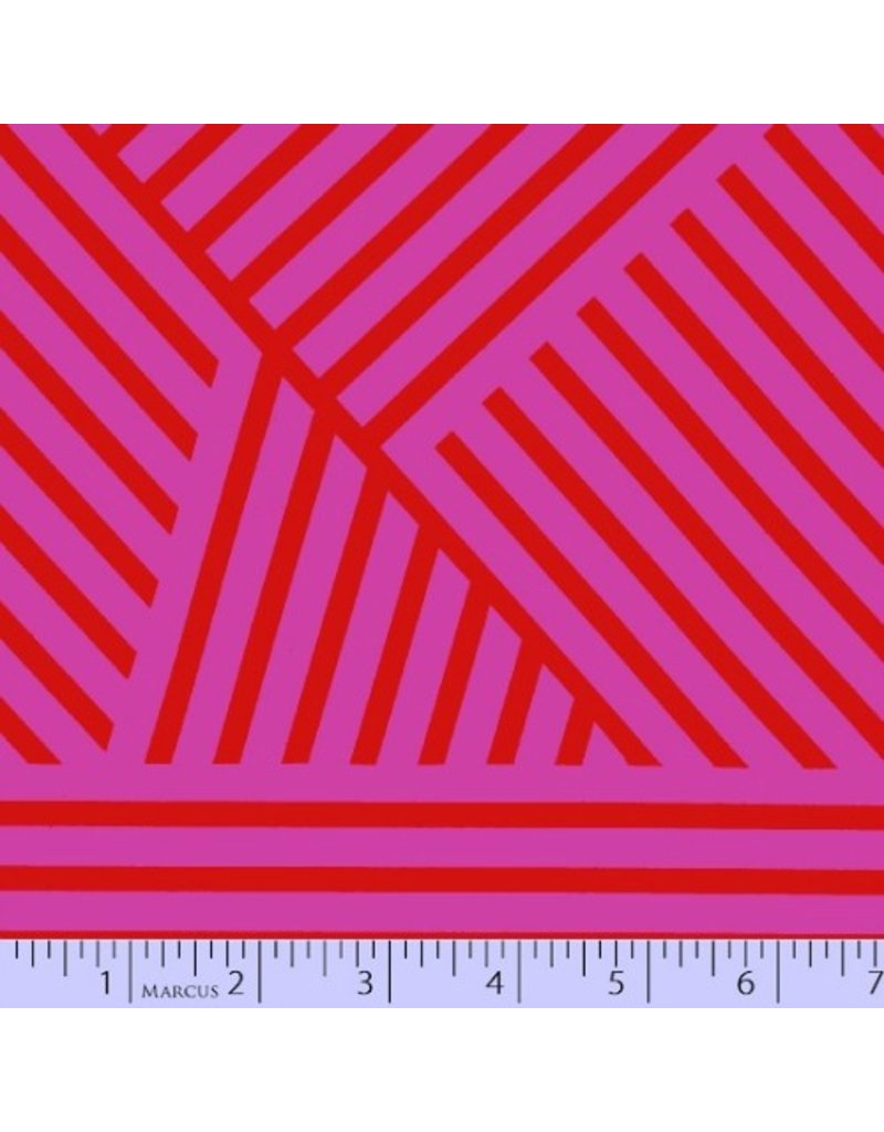 Victoria Findlay Wolfe Mostly Manor, Manor Stripe in Fuchsia and Red, Fabric Half-Yards