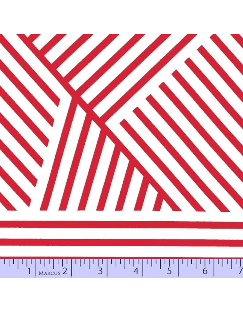Victoria Findlay Wolfe Mostly Manor, Manor Stripe in Red and White, Fabric Half-Yards
