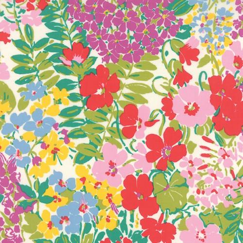 Moda Cotton Lawn, Regent Street, Ferns and Fauna in Ivory, Fabric Half-Yards
