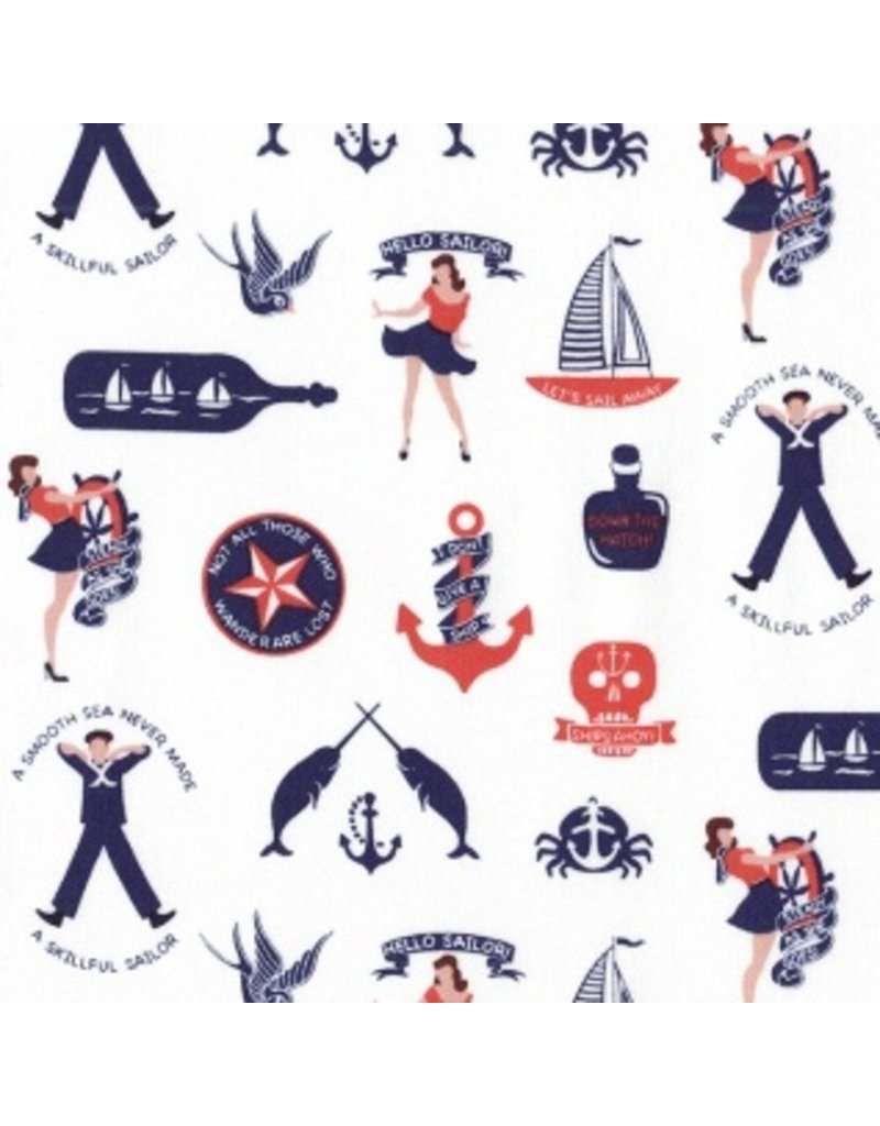 Dear Stella Hello Sailor!, Maritime Fun in White, Fabric Half-Yards