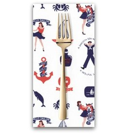 PD's Dear Stella Collection Hello Sailor!, Maritime Fun in White, Dinner Napkin