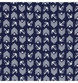 Dear Stella Hello Sailor!, Drop Anchor in Navy, Fabric Half-Yards