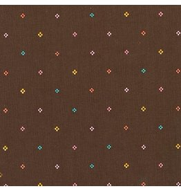 Liesl Gibson Cotton Lawn, Woodland Clearing, Diamond Dots in Brown, Fabric Half-Yards