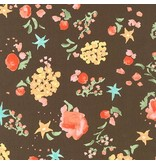 Liesl Gibson Cotton Lawn, Woodland Clearing, Watercolor Floral in Brown, Fabric Half-Yards