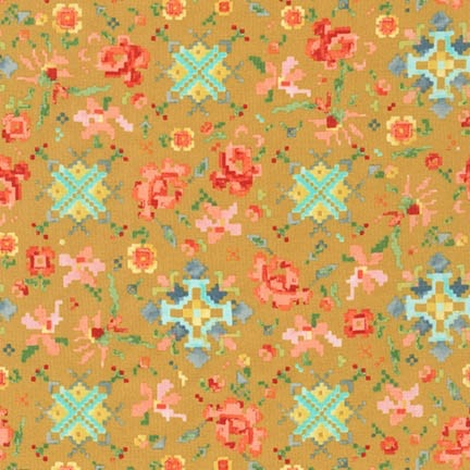 Liesl Gibson Cotton Lawn, Woodland Clearing, Pixeled Floral in Ochre, Fabric Half-Yards