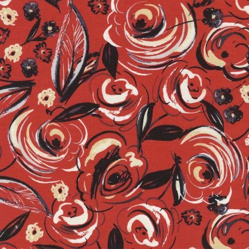 PD's Timeless Treasures Collection Velo, Rose Brushstrokes in Red, Dinner Napkin