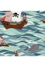 Andover Fabrics Pirate Ships in Sea, Fabric Half-Yards