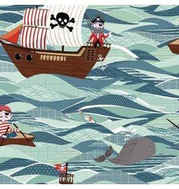 Andover Fabrics Pirate Ships in Sea, Fabric Half-Yards