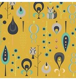 Andover Fabrics Forest Fables, Hide and Seek in Mustard, Fabric Half-Yards