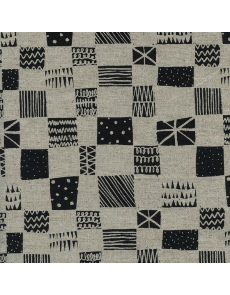 Alexia Abegg Linen/Cotton Canvas, Black and White 2016, Swatch, Fabric Half-Yards
