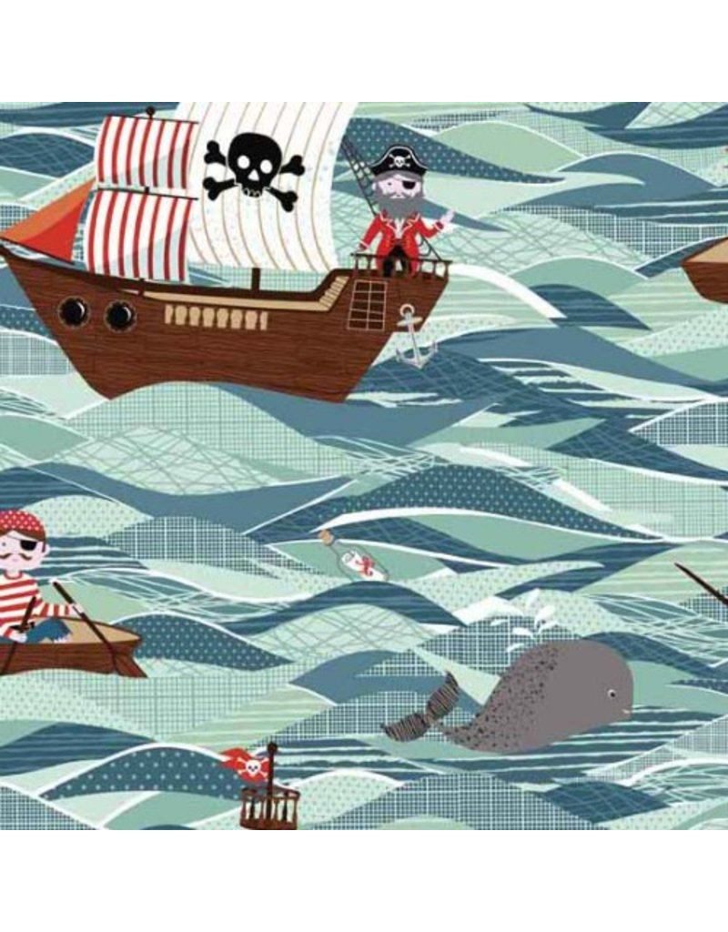 PD's Andover Collection Pirate Ships in Sea, Dinner Napkin