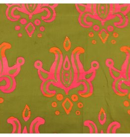 Alison Glass Handcrafted Patchwork, Lotus in Avocado, Fabric Half-Yards
