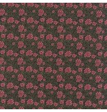 Barbara Brackman Morris Earthly Paradise, Carnation 1880 in Black, Fabric Half-Yards