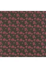 Barbara Brackman Morris Earthly Paradise, Carnation 1880 in Black, Fabric Half-Yards