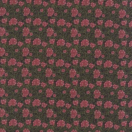 William Morris & Co. Morris Earthly Paradise, Carnation 1880 in Black, Fabric Half-Yards