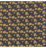 Barbara Brackman Morris Earthly Paradise, Carnation 1880 in Dark Blue, Fabric Half-Yards