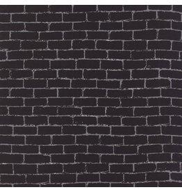 Luke Haynes Dapper Prints, Wall in Patent Black, Fabric Half-Yards