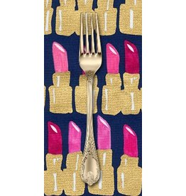 PD's Robert Kaufman Collection Bouffants and Broken Hearts in Fuchsia with Gold Metallic, Dinner Napkin