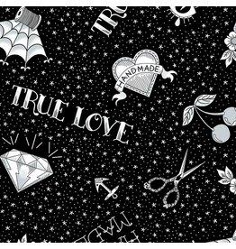 Libs Elliott True Love, Flash in Black, Fabric Half-Yards