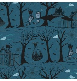 Sarah Watts Boo!, Hallow Lane in Blue with Pearlescent, Fabric Half-Yards