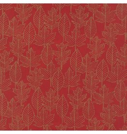 Moda Welcome Fall, Leaf Lines in Berry Red, Fabric Half-Yards