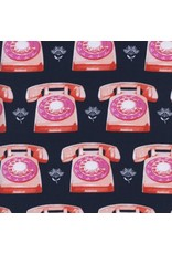 Melody Miller Trinket, Telephones in Navy, Fabric Half-Yards