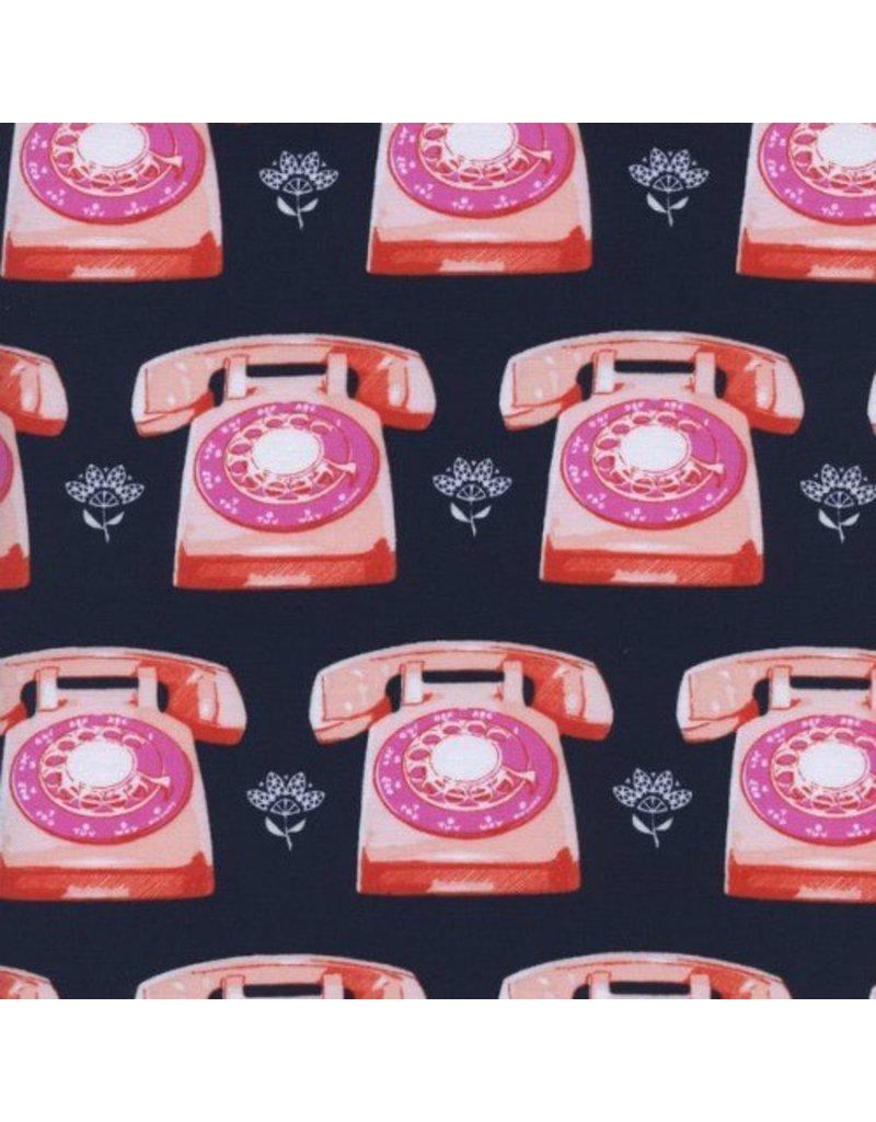 Melody Miller Trinket, Telephones in Navy, Fabric Half-Yards