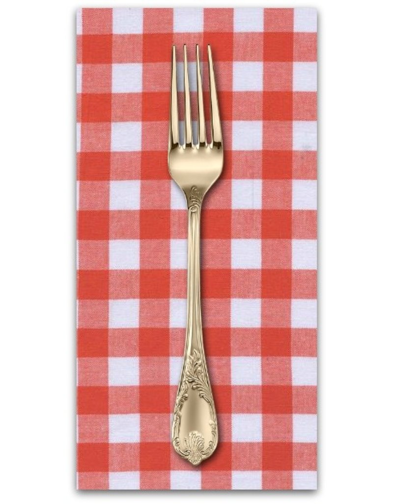 "PD's Cotton + Steel Collection Checkers Woven 1/2"" Gingham in Coral, Dinner Napkin"