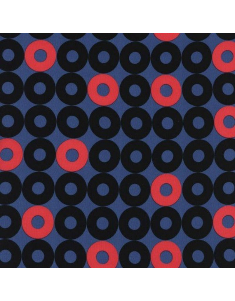 Kim Kight Rayon, Rotary Club, Ring Rings in Dusk, Fabric Half-Yards