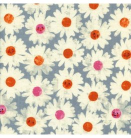 Cotton + Steel Double Gauze, Trinket, Happy Garden in Frost, Fabric Half-Yards