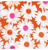 Melody Miller Trinket, Happy Garden in Orange, Fabric Half-Yards