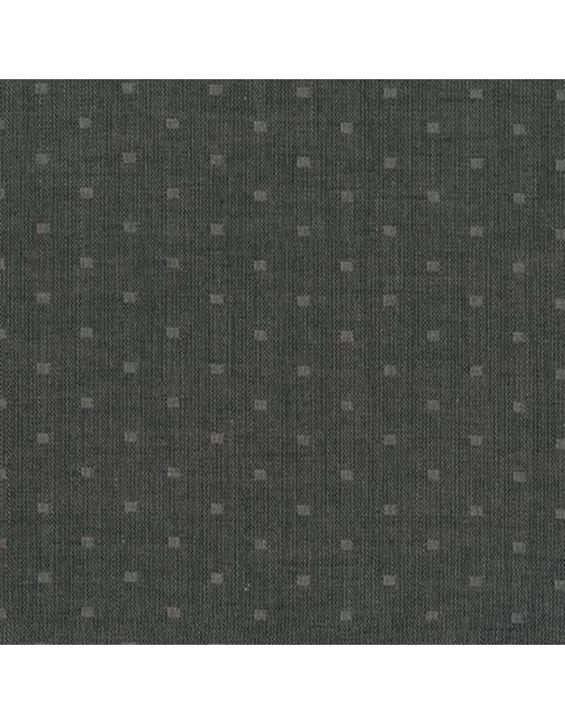Robert Kaufman Double Gauze, Chambray Dobby in Black, Fabric Half-Yards