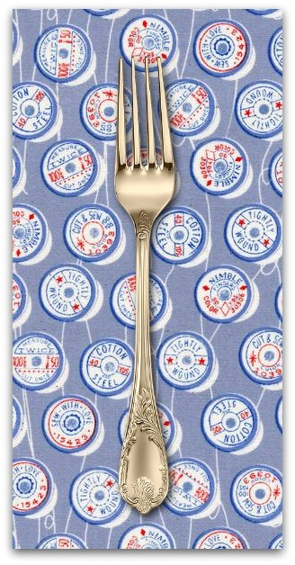 PD's Melody Miller Collection Trinket, Spools in Blue, Dinner Napkin