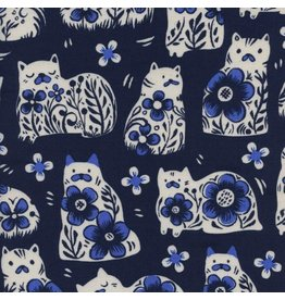 Sarah Watts From Porto with Love, Sushi's Antiques in Navy, Fabric Half-Yards