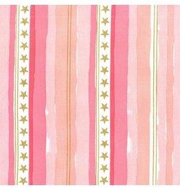 Sarah Jane Magic! Stars and Stripes in Pink with Gold Metallic, Fabric Half-Yards