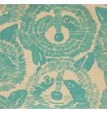 Alexander Henry Fabrics Nicole's Prints, Rocky Raccoon in Turquoise, Fabric Half-Yards