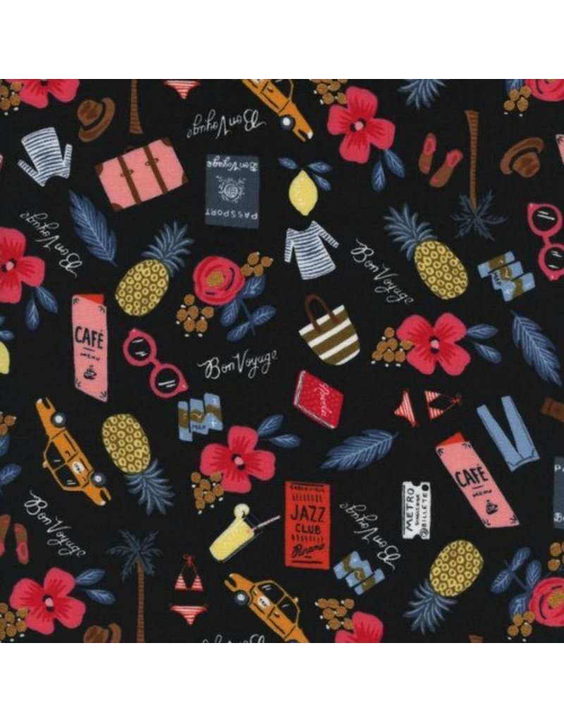 Rifle Paper Co. Les Fleurs, Bon Voyage in Black with Metallic, Fabric Half-Yards