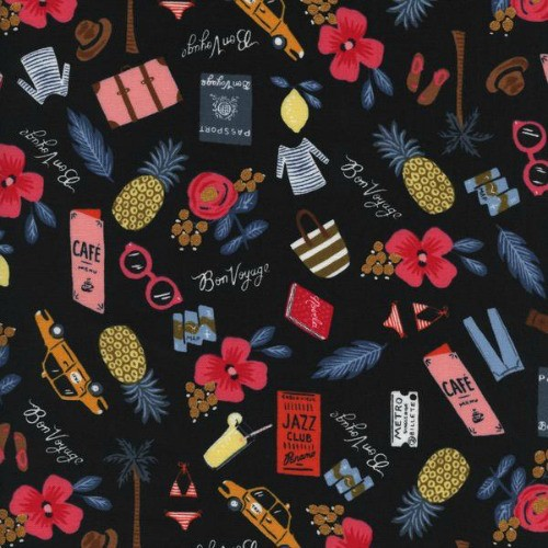 Rifle Paper Co. Les Fleurs, Bon Voyage in Black with Metallic, Fabric Half-Yards