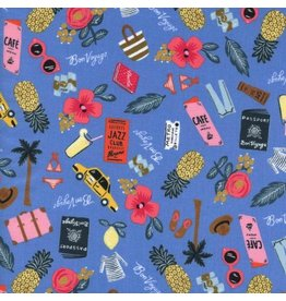Rifle Paper Co. Les Fleurs, Bon Voyage in Periwinkle with Metallic, Fabric Half-Yards