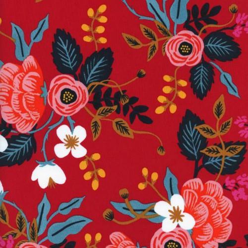 Rifle Paper Co. Rayon, Les Fleurs Birch Floral in Enamel, Fabric Half-Yards