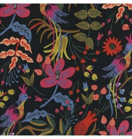 Rifle Paper Co. Linen/Cotton Canvas, Les Fleurs Folk Birds in Black, Fabric Half-Yards