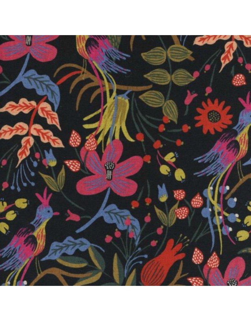Rifle Paper Co. Linen/Cotton Canvas, Les Fleurs Folk Birds in Black, Fabric Half-Yards