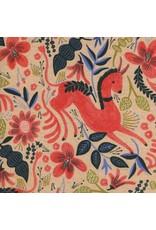Rifle Paper Co. Linen/Cotton Canvas, Les Fleurs  Folk Horse in Coral, Fabric Half-Yards