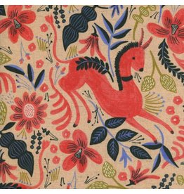 Rifle Paper Co. Linen/Cotton Canvas, Les Fleurs  Folk Horse in Coral, Fabric Half-Yards