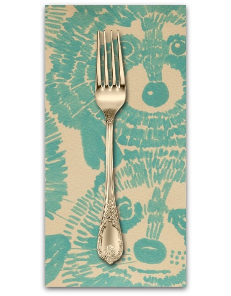 PD's Alexander Henry Collection Nicole's Prints, Rocky Raccoon in Turquoise, Dinner Napkin